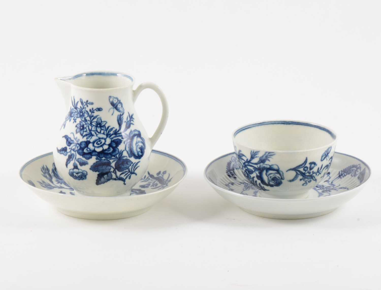 Lot 17-A Worcester blue and white porcelain sparrow-beak jug, matching teabowl and saucer, and another saucer