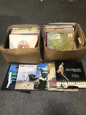 Lot 2A-Two boxes of vinyl record LPs; aprox 80 including Bruce Springsteen, Queen, Classical etc.