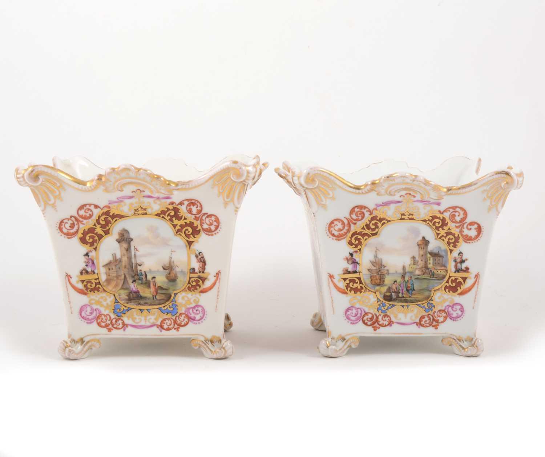 Lot 20-A pair of Dresden porcelain jardinieres, Helena Wolfsohn, circa 1900