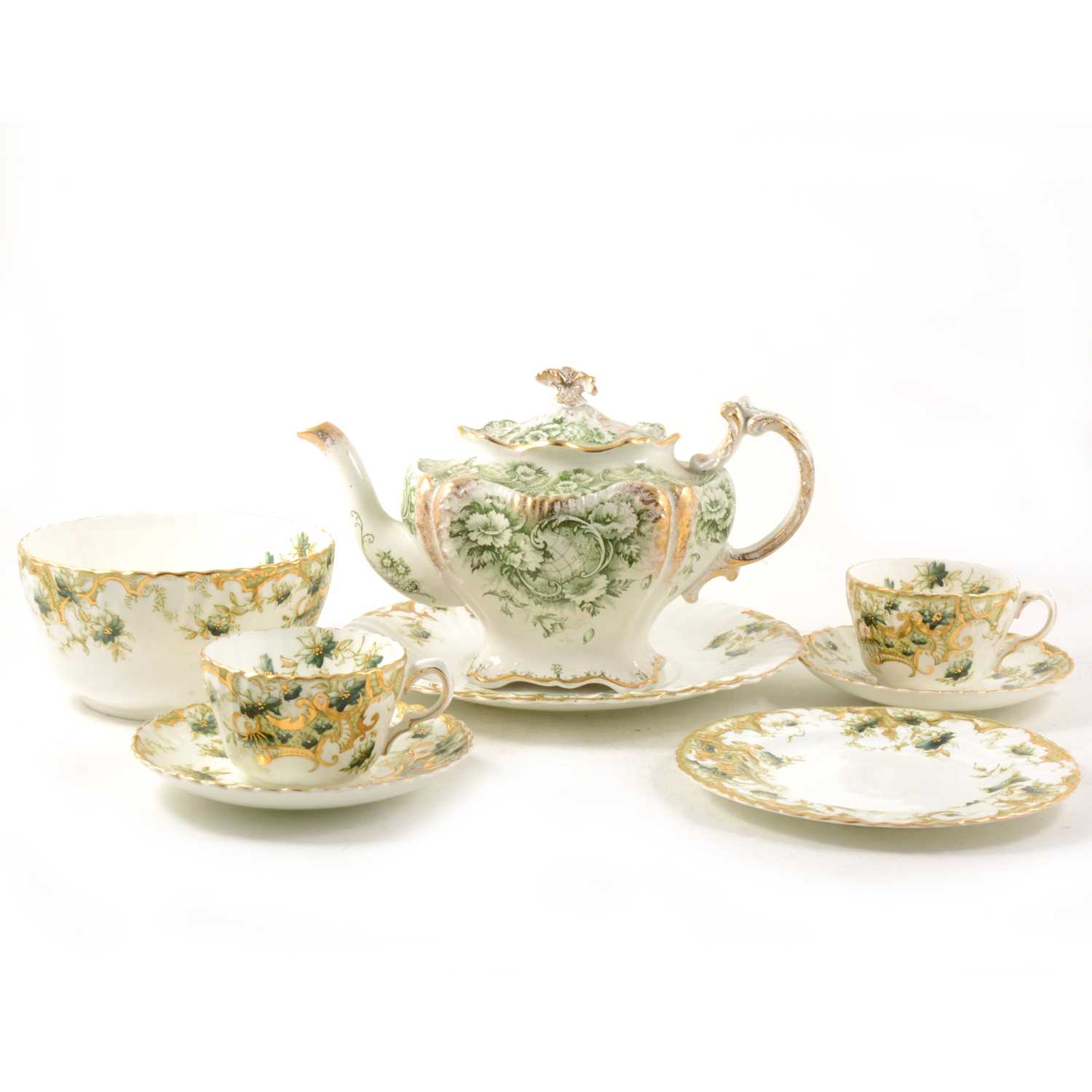 Lot 31-A late 19th century Staffordshire tea service