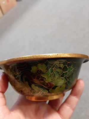 Lot 4 - Satsuma bowl, lobed circular form, a cloisonne bowl, and a small jar.