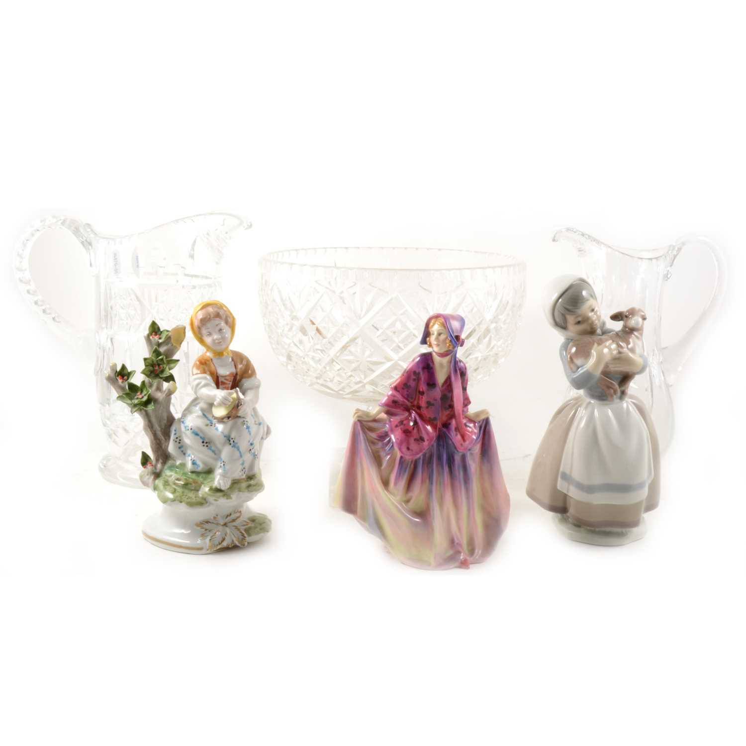 Lot 37-Royal Doulton figure, Sweet Anne, HN1496; 18cm, other decorative china and glass.