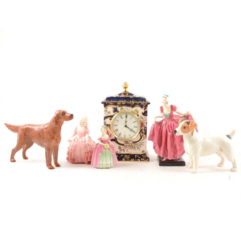 Lot 22-Masons mantel clock, Royal Mandalay; Beswick and Doulton figures