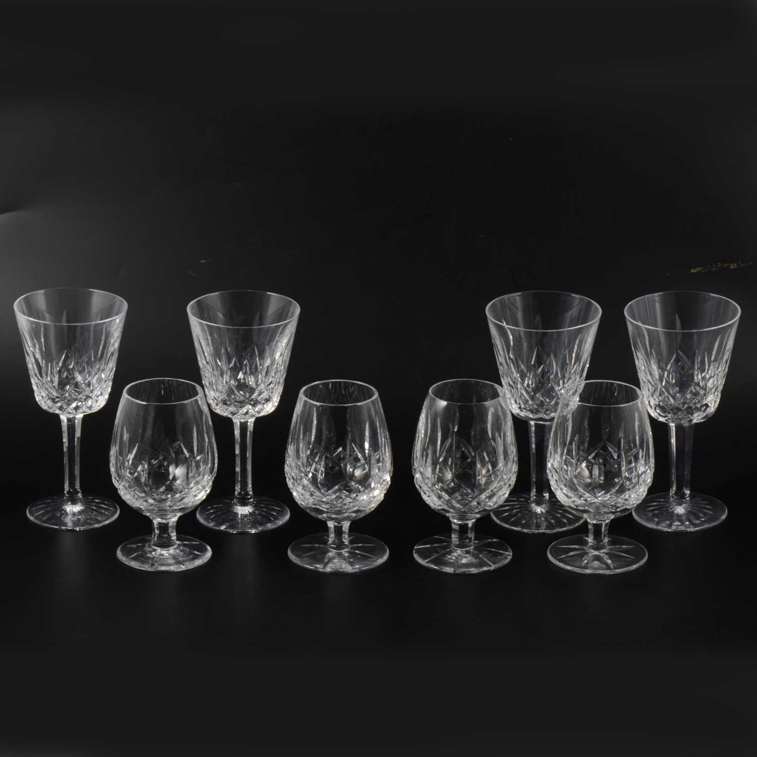 Lot 43-Seven Waterford crystal wine glasses, 15cm; and six Waterford brandy glasses