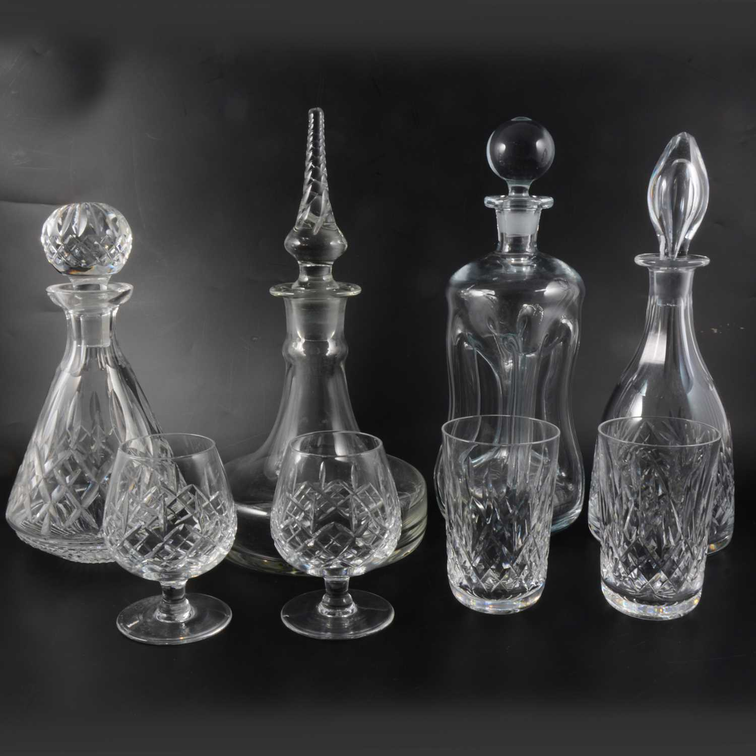 Lot 42-Webb crystal mallet shaped decanter, 31cm; other decanters; and table glassware.