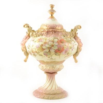 Lot 16-A Rudolfstadt Volkstedt ornamental covered vase