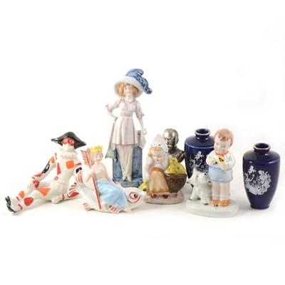 Lot 38-A box of decorative ceramics including lustred nursery fairings
