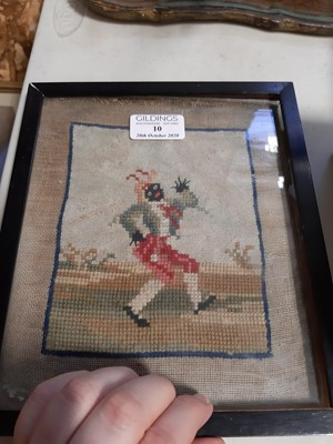Lot 10-Two Staffordshire figures and a related Victorian woolwork picture