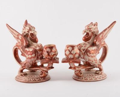 Lot 22-A pair of Italian maiolica chambersticks, Cantagalli