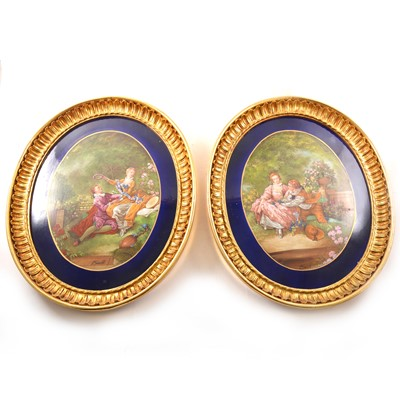 Lot 17 - A pair of Sevres inspired oval porcelain plaques