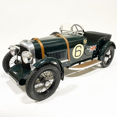Lot 67 - A Bentley Speed 6 pedal car; 1.5m in length, painted with British racing green, no.6 side decals