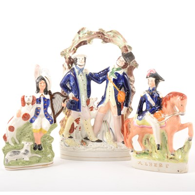 Lot 88 - Staffordshire group, Smith and Collier,  and two later figures