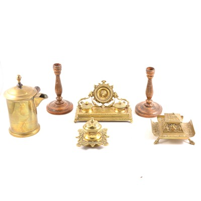 Lot 117 - A cast brass desk stand, with twin inkwells, etc