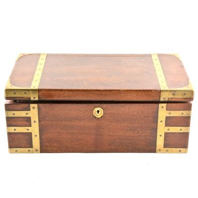 Lot 101 - A Victorian brass banded mahogany writing box