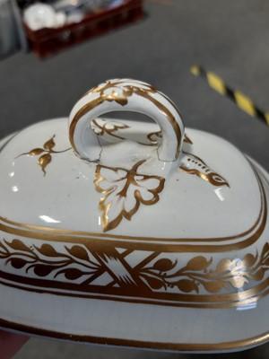 Lot 48-A Staffordshire four-piece toilet set, gilt decoration