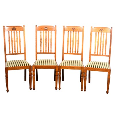 Lot 539-A set of six oak dining chairs by Shapland & Petter of Barnstaple