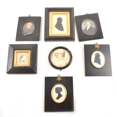 Lot 107 - A Victorian silhouette of a gentleman in profile, and other modern silhouettes