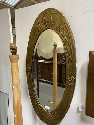 Lot 542-A Glasgow School Arts and Crafts brass mirror, circa 1910