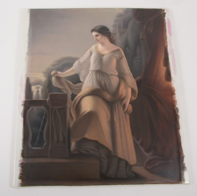 Lot 25-A Berlin porcelain panel - A maiden at the Villa d'Este