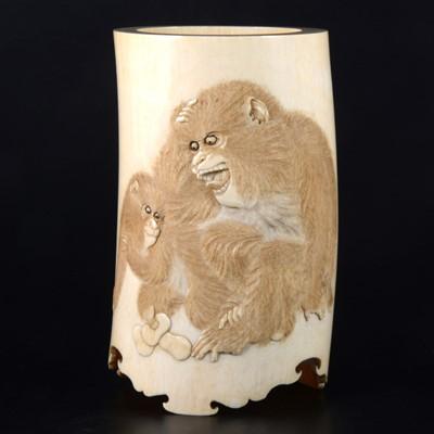 Lot 34-A Japanese carved ivory brush holder, Meiji