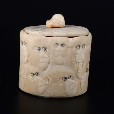 Lot 35-A Japanese carved and stained ivory box, Meiji