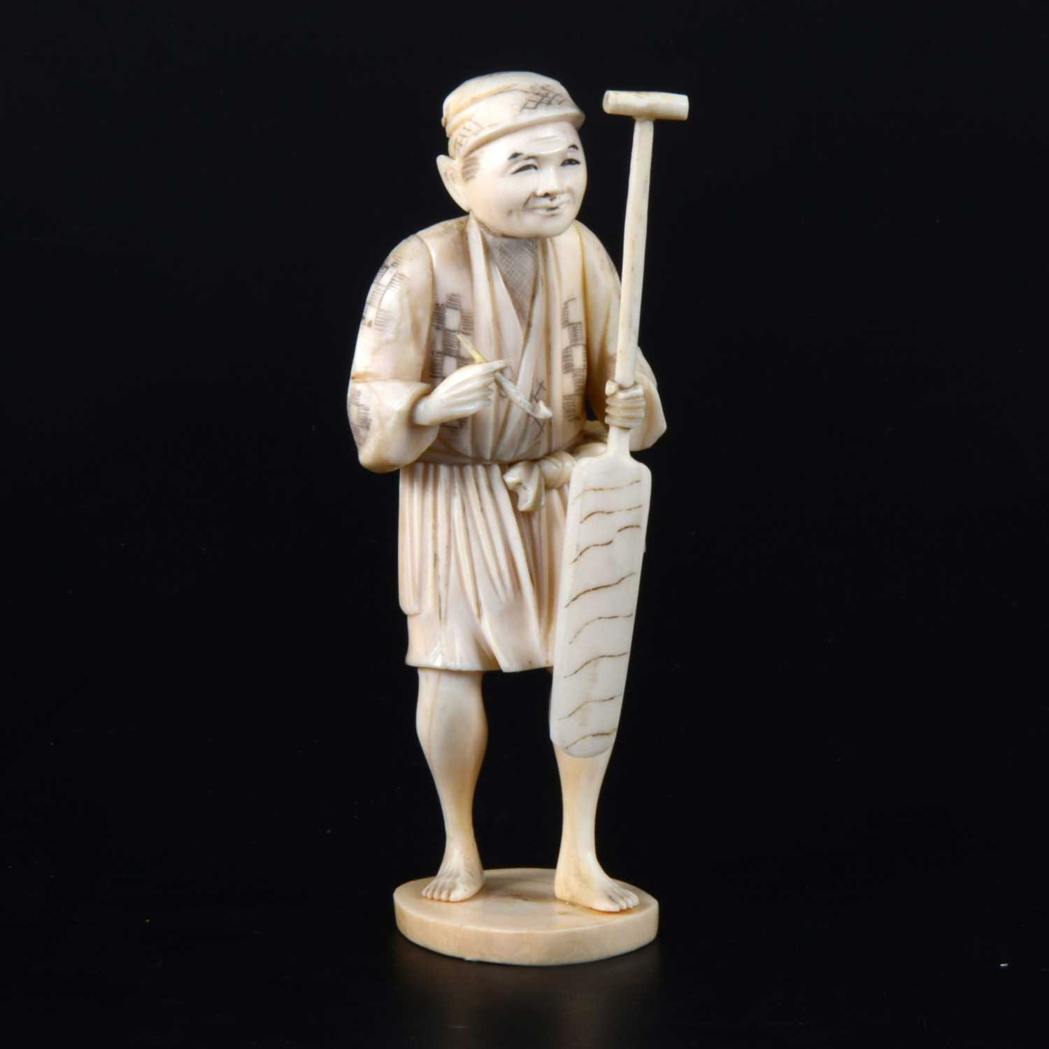 Lot 39-A Japanese carved and sectional ivory okimono, early 20th Century