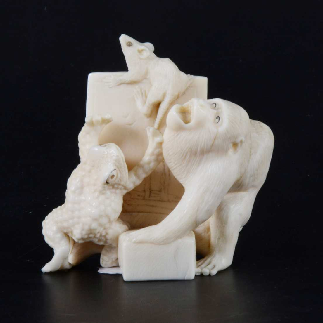 Lot 42-A Japanese carved ivory group, early 20th Century