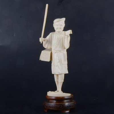 Lot 43-A Japanese carved and sectional ivory okimono, Meiji