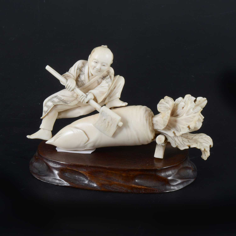 Lot 45-A Japanese carved ivory okimono, probably Meiji