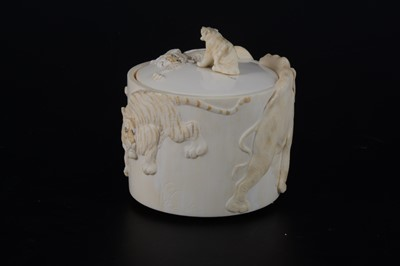 Lot 47-A Japanese carved and stained ivory box, early 20th Century