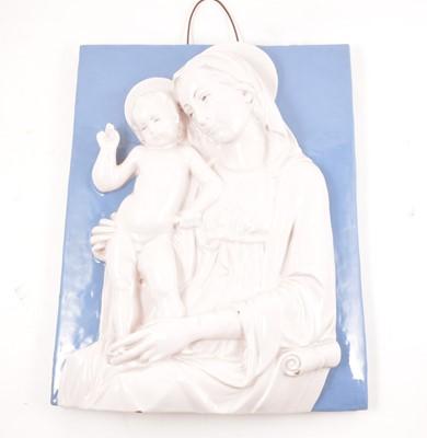 Lot 72 - Della Robbia style plaque, Madonna and Child