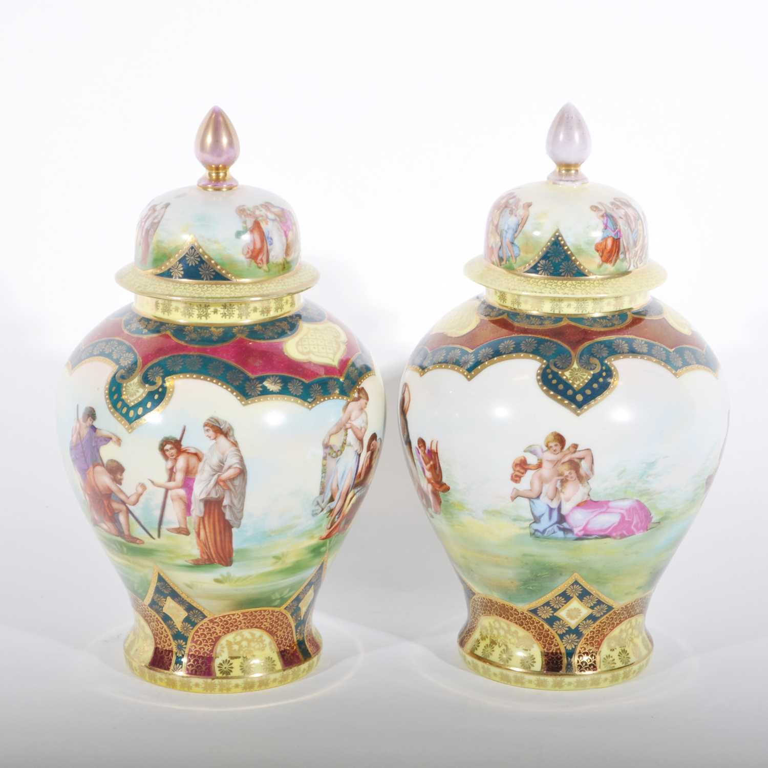 Lot 37-A pair of Viennese style baluster shaped covered vases