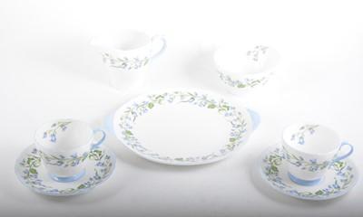 Lot 83 - A Shelley bone china teaset, Harebell pattern