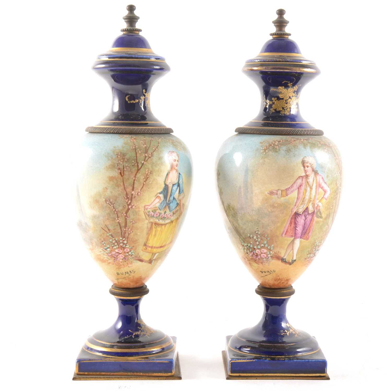 Lot 4-A pair of Sevres style pedestal vases, signed Dumas