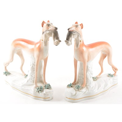 Lot 2 - A pair of Staffordshire pottery models, Greyhound and Hare