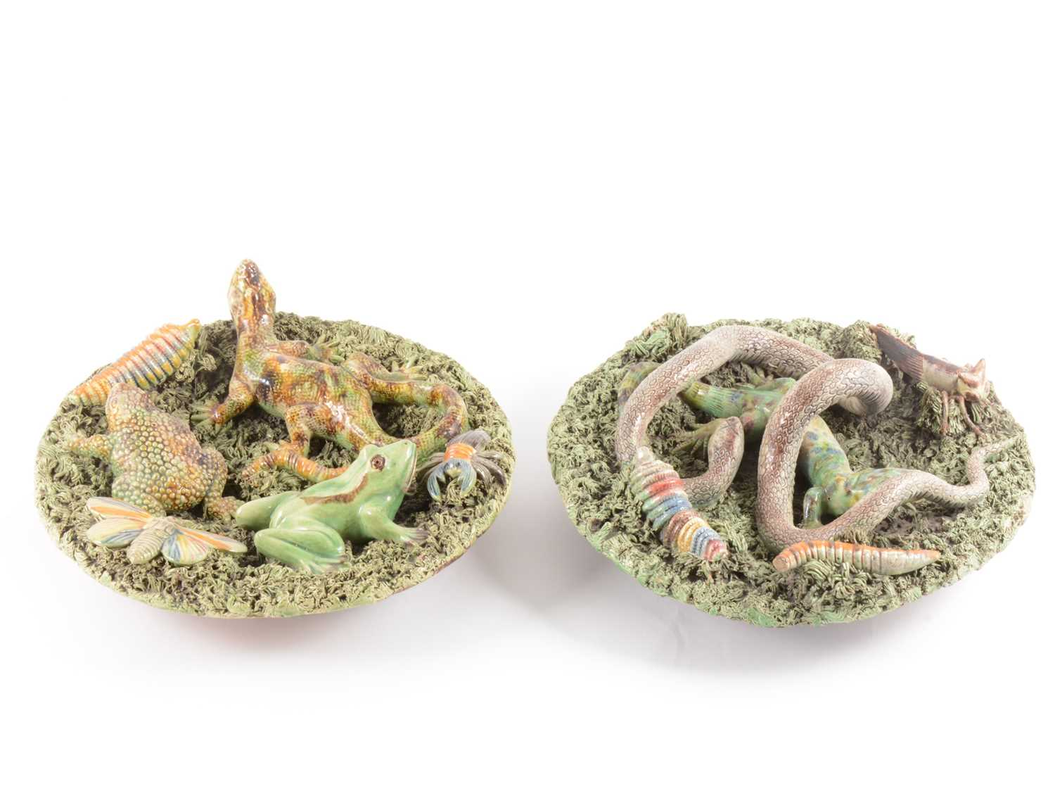 Lot 26-A pair of Portuguese Palissy type lead-glazed earthenware bowls, Jose Alves Cunha