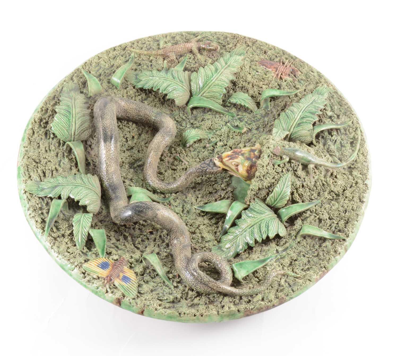Lot 27-A Portuguese Palissy type lead-glazed earthenware bowl, Manuel Mafra