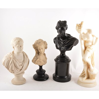Lot 96 - A reconstituted portrait bust, Emperor Napoleon and other contemporary figures after the Antiques