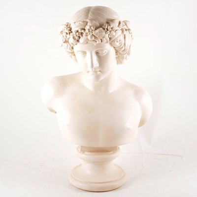 Lot 66 - A composition white painted bust of Bacchus