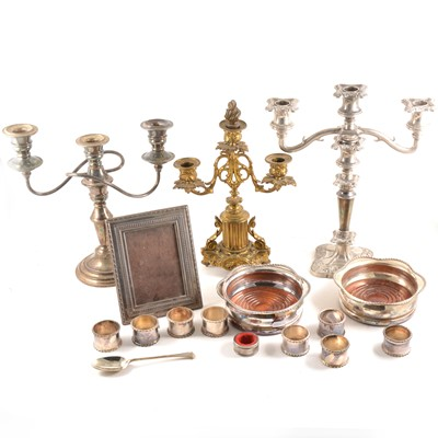 Lot 106 - Silver-faced photograph frame, Georgian silver spoon, and plated wares