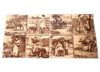 Lot 510-Eight 6-inch Victorian art pottery tiles, designed by William Wise for Minton