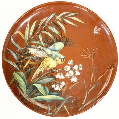 Lot 511-A Victorian art pottery charger, by Brown-Westhead, Moore & Co, circa 1875
