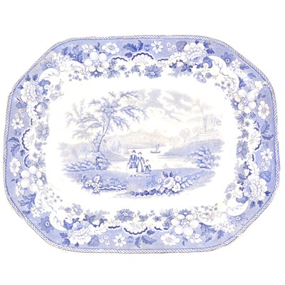 Lot 10-Two Victorian blue and white printware meat plates