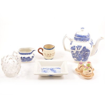 Lot 25A - Woods willow pattern teapot, etc.