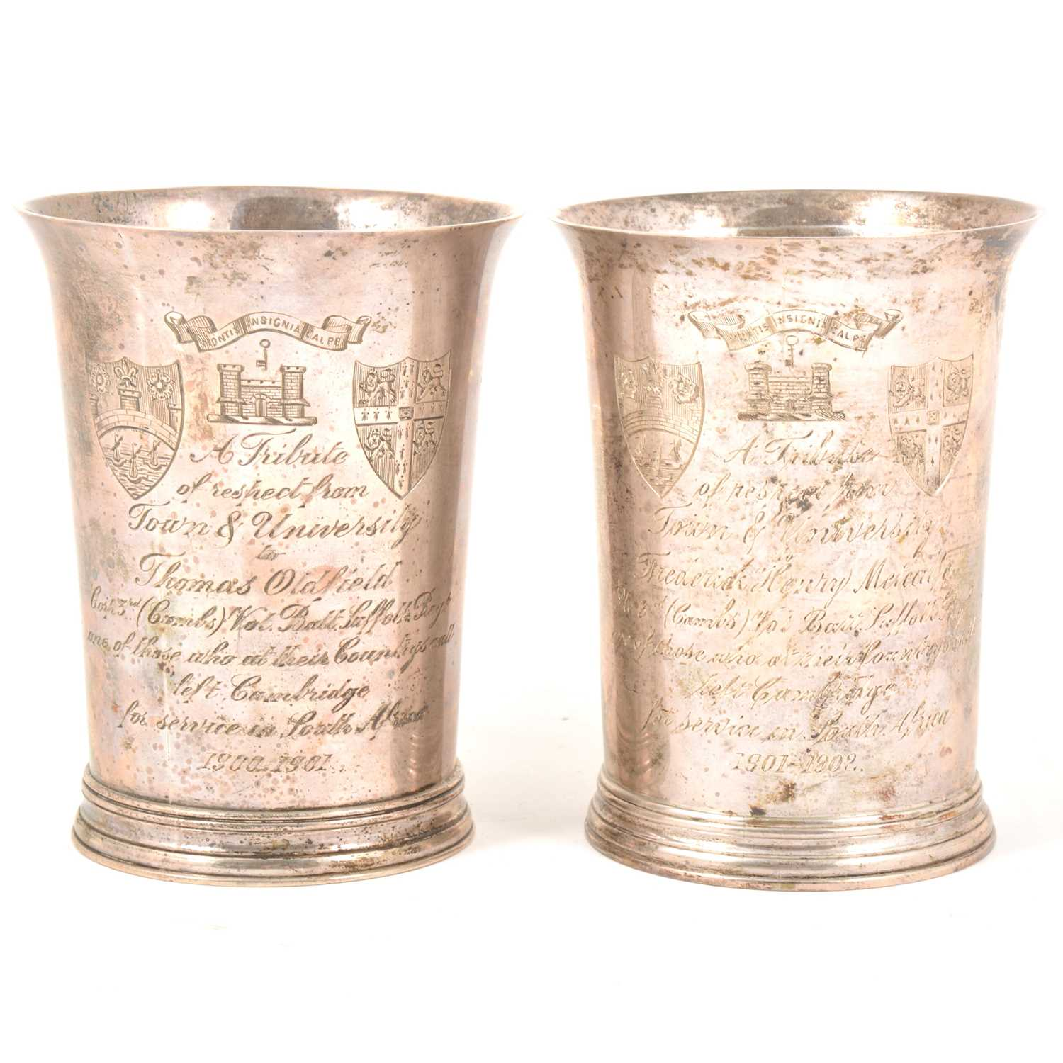 140 - Boer War interest; two silver presentation beakers, David Munsey, London 1900 and 1902