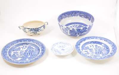 Lot 62 - A collection of Victorian blue and white plates and other similar pottery