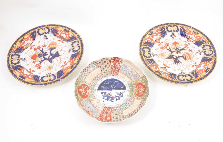 Lot 44 - A pair of Chamberlain's Worcester Imari plates and an Imari dish
