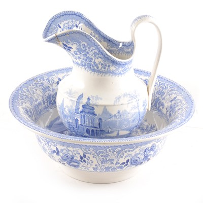 Lot 95 - A blue and white transfer printed jug and bowl set.