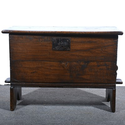 Lot 54 - A joined oak small coffer, 18th Century and later.
