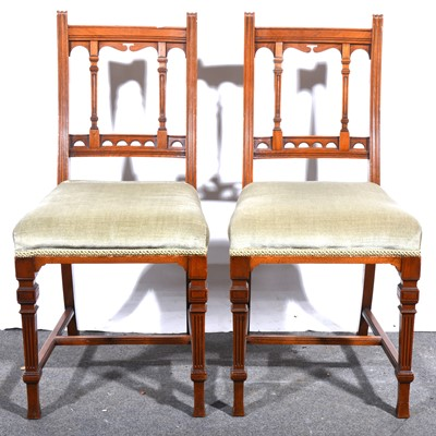 Lot 35 - A pair of late Victorian walnut single chairs